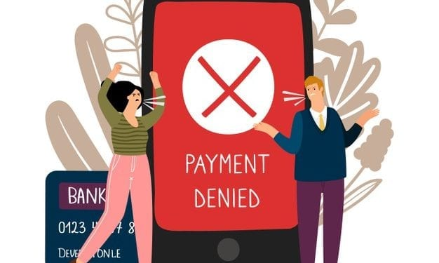 "an illustration of a woman and a man arguing. Between they is a smartphone with the message on the screen: ""payment denied"""